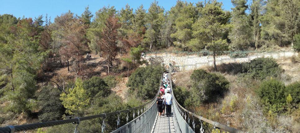 puente colgante en el parque nesher haifa